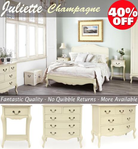 Shabby Chic Champagne Furniture, cream chest of drawers, dressing table, chests <br/> assembled bedsides chests, partially asembled wardrobe