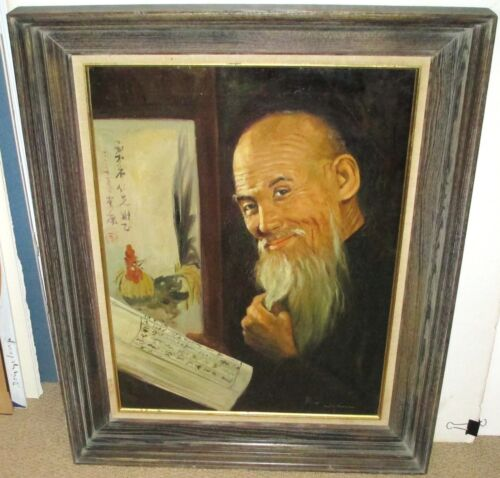 WAHSO CHAN ELDER CHINESE MAN READING AND ROOSTER ORIGINAL OIL ON CANVAS PAINTING