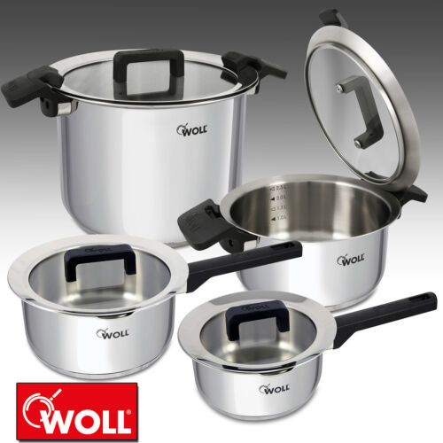 WOLL STAINLESS STEEL PAN SET INDUCTION GLASS LIDS SAUCEPAN CASSEROLE STOCK POT