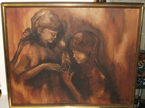 LORRAINE FOX TWO GIRLS PLAYING STRINGS ORIGINAL OIL CANVAS PAINTING