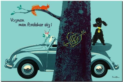 "VINTAGE VOLKSWAGEN VW Beetle Ad Poster A3 CANVAS PRINT 18""X 12"" tree"