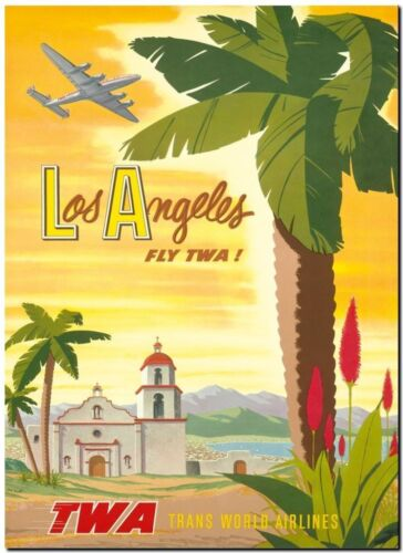 Cool Retro Travel Poster *FRAMED* CANVAS ART Los Angeles TWA yellow 24x16""