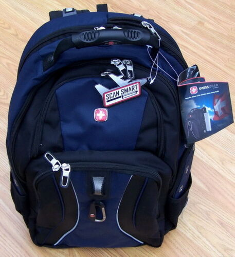 "New 17"" Blue Black Swiss Army Laptop Backpack Computer Back Pack"