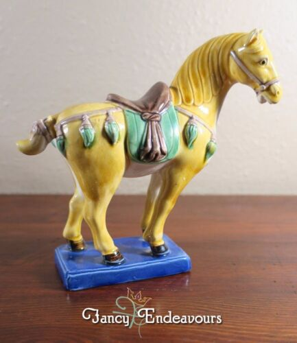 Vintage Chinese Porcelain Tang Horse Figurine with Sancai Type Glaze<br/>Horses - 60193