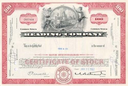 Reading Railroad Company authentic stock certificate famous in monopoly game<br/>The Americas - 37908