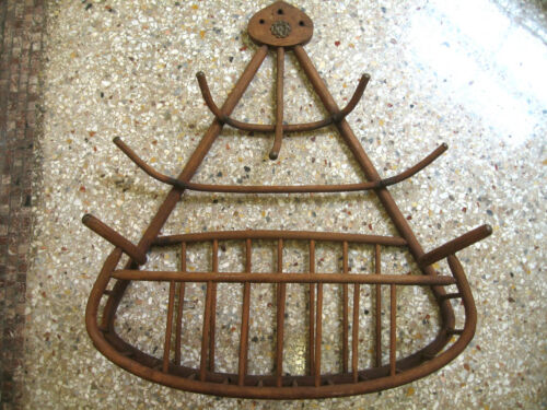 ANTIQUE BENTWOOD OAK HANGING HAT AND MAGAZINE or TOWEL RACK CIRCA 1900