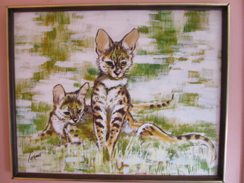 SIGNED Savannah cat PORTRAIT PAINTING MYSTERY ARTIST CATS C. 1970'S 31 X 25