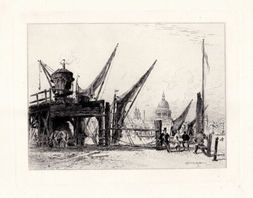 """DEBAINES 1800s Original Etching """"St Paul's from the Bankside"""" SIGNED Framed COA"""