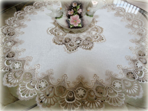 "36"" X-Large Lace Doily Table Topper Taupe Neutrals Antique White Tablecloth"
