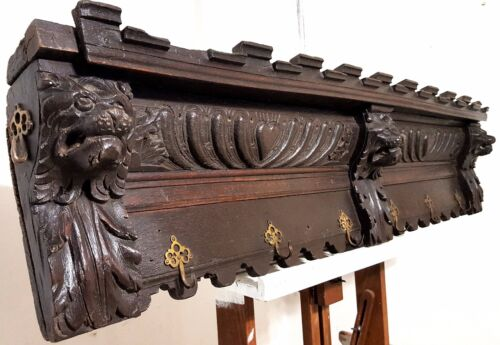 17th GOTHIC LION WEDDING HOOK RACK Antique french carved wood salvaged furniture