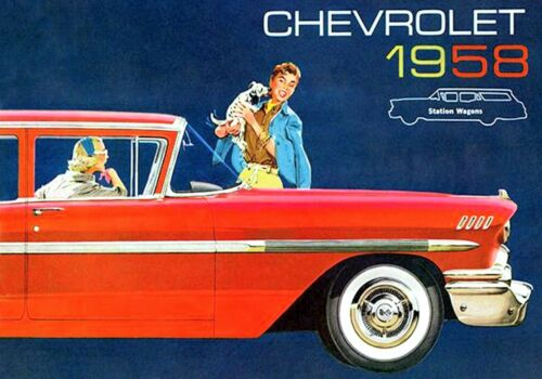 MAGNET Automobile Ad Photo Magnet CHEVROLET Station Wagon 1958