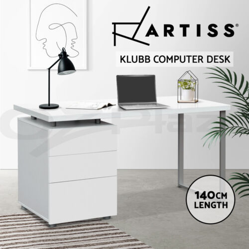 Office Computer Desk Table Home Metal Student Study 3 Drawer Cabinet White <br/> 20% off with code POOLSIDE. Ends 26/11. T&amp;Cs apply.