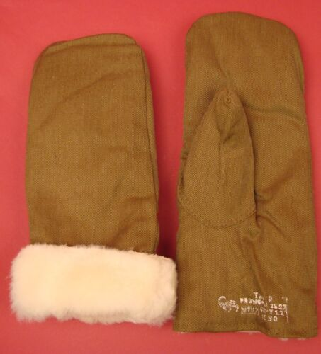 SOVIET ARMY Genuine Fur MITTENS Russian Infantry Winter combat ORIGINAL 1990 NEW