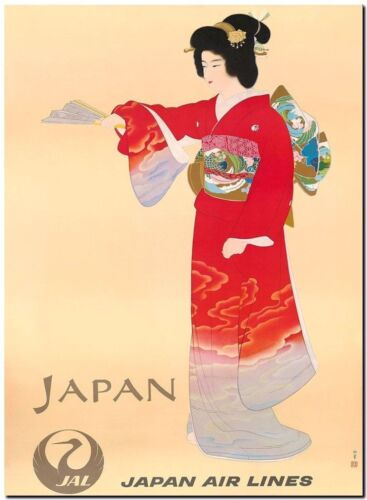 Retro Travel Poster *FRAMED* CANVAS PRINT ~ Japan Airlines Geisher 20x16""