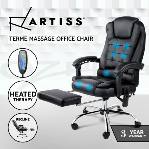 8 Point Executive Massage Office Computer Chair Heated Recliner Footrest Black <br/> BUY 1 GET 1 AT 5% OFF! 15TH MAY Dispatch