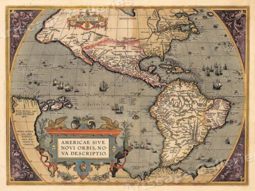 Western Hemisphere New World 1598 Vintage Style Classic World Map - 18x24<br/>Posters - 60432