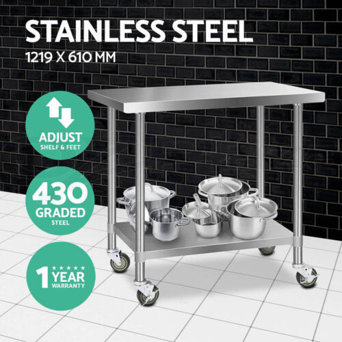 1219x610mm Commercial 430 Stainless Steel Work Bench Food Prep Table + Castors <br/> 20% off with code PRO20. Ends 22 Jan. T&amp;Cs apply.