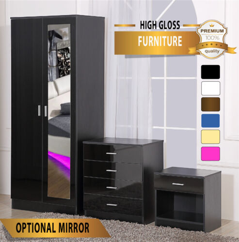 OSSOTTO HIGH GLOSS Bedroom Furniture - SOFT CLOSE Wardrobe Chest Bedside <br/> ✔9 COLOUR OPTIONS✔OPTIONAL MIRROR✔FAST &amp; FREE DELIVERY