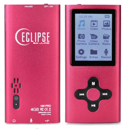 "Eclipse 180 PRO 4GB MP3 MP4 Digital Music 1.8"" Video Player & Voice Recorder Red"