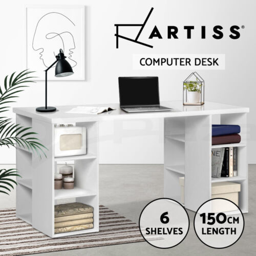 Artiss Computer Study Desk Office Table 3 Level 6 Shelf Storage Bookcase White <br/> Back to Study. Up to 5% OFF! Buy Your Favorite Desk!
