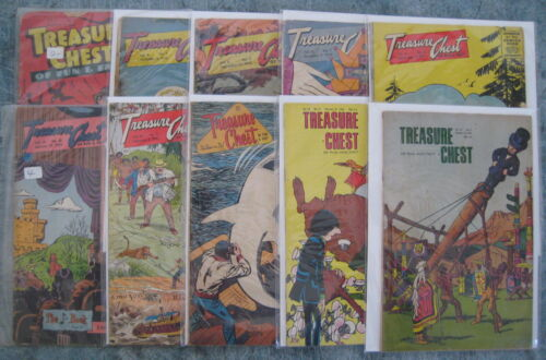 Lot of 10 x Treasure Chest Vol. 4 #'s 14 through to Vol 23 #4. 1949-1967. G-/VG+