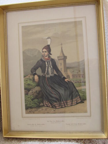 Young girl from Modrevallis  F C Lund Lithograph DENMARK Framed Iceland Costume