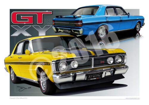 Ford XY GT Art Print - Classic Ford Falcon XY GT Car Drawings ( 31 Colours )