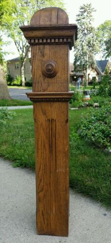 Estate Antique Architectural Salvage Carved Stained Oak Wood Stair Newel Post<br/>Columns & Posts - 162928