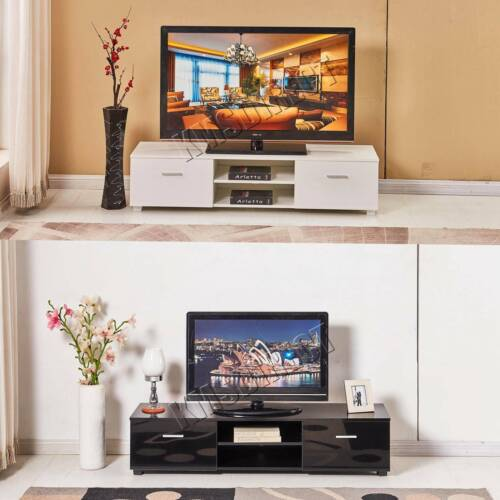 FoxHunter High Gloss MDF TV Cabinet Unit Stand White Home Furniture With Drawer <br/> 120-140-160(L)X40(D)X34(H)CM*MDF*UK STOCK*FAST DELIVERY