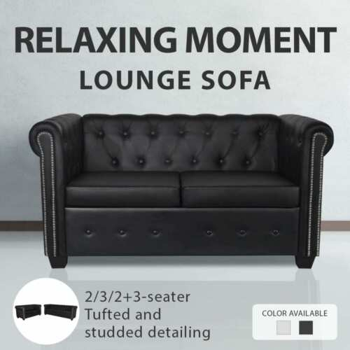 Black/White 3/2/3+2 Seater Chesterfield Leather Sofa Lounge Bed Couch Chaise