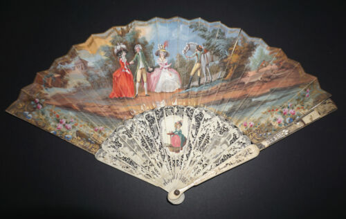 RARE ANTIQUE 18TH FRENCH FILIGREE CARVED HAND PAINTED FIGURAL SCENE HORSE FAN<br/>Other Antique Decorative Arts - 73467