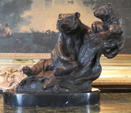 Mother Bear Cub Bronze Bronze Marble Statue Sculpture Cabin Lodge Chalet Art