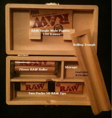Rolling Tray Storage Stash Box and 100 RAW Single Wide Papers &amp; Tips +RAW Roller <br/> U ARE BUYING FROM A RAW DIRECT SOURCE AUTHORIZED SELLER