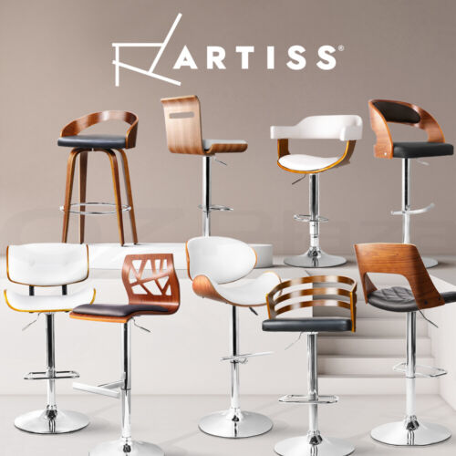2x Wooden Bar Stool Kitchen Dining Chair Swivel Barstool Leather Black/White <br/> Various Models✔Fast Dispatch✔Top Quality✔Best Value