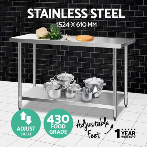 1524x610mm Commercial 430 Stainless Steel Kitchen Work Bench Food Prep Table Top <br/> 20% off with code PROJECT. Ends 26 Mar. T&amp;Cs apply.