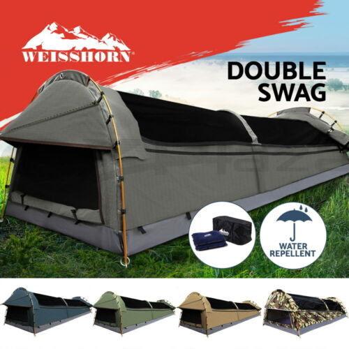 Weisshorn Double Swag Camping Swags Canvas Tent Deluxe Aluminum Poles Bag <br/> Start From $189! Be careful of the inferior goods!