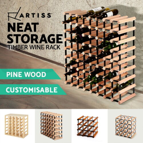 Timber Wine Rack Wooden Storage Organiser Stand 7 12 20 24 30 42 64 72 110Bottle <br/> ✔BUY 1, GET 1 AT 15% OFF✔Timber pine wood