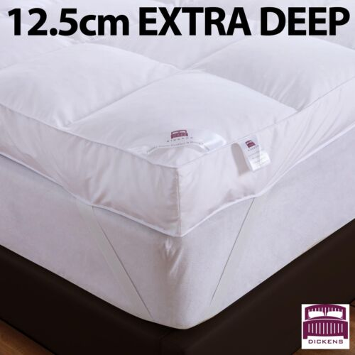 LUXURY 5&rdquo; (12.5CM) EXTRA DEEP 100% GOOSE FEATHER &amp; DOWN MATTRESS TOPPER 12.5CM <br/> DICKENS BRANDED * 12.5cm EXTRA DEEP * UK SELLER