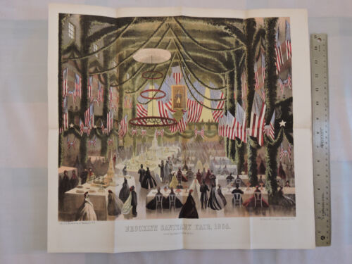 Original 1864 Brooklyn Heights 17x18 Lithograph Civil War Fair Academy of Music