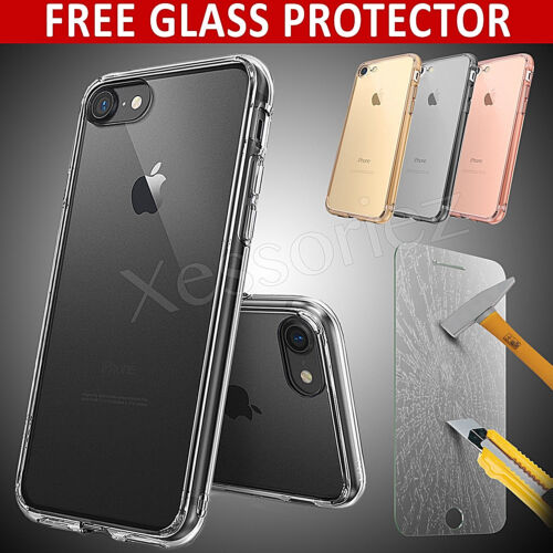 For Apple iPhone 8 7 6 Clear Gel Case Cover and Tempered Glass Screen Protector <br/> iPhone 4S,5C,8,8 Plus | FREE GLASS Protector | 3 Colors