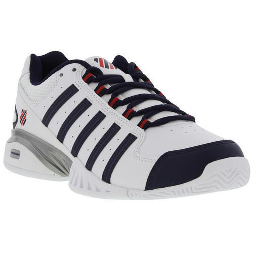 K-Swiss Receiver III Omni Mens White Leather Tennis Shoes Trainers Size UK 7-14 <br/> 100% Genuine K-Swiss From Trusted UK Retailer
