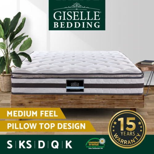 Queen King Single Double Mattress Pillow Top Bed Size Bonnell Spring Foam 21CM <br/> 20% off with code PEPPY. Ends 26/11. T&amp;Cs apply.