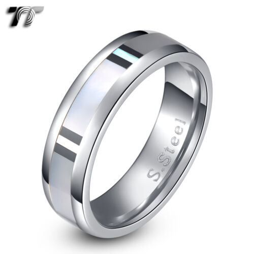 TT 6mm Stainless Steel Mother Pearl Wedding Band Ring (R204)