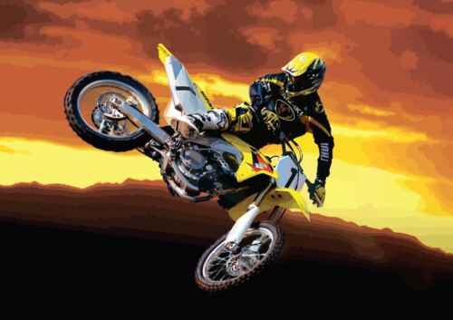 MOTOCROSS JUMP MOTORBIKE YELLOW SUNSET NEW ART PRINT POSTER YF1375