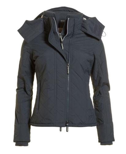 New Womens Superdry Hooded Sherpa Quilted Windcheater Mid Charcoal <br/> RRP &pound;79.99 - BUY FROM THE OFFICIAL SUPERDRY EBAY STORE