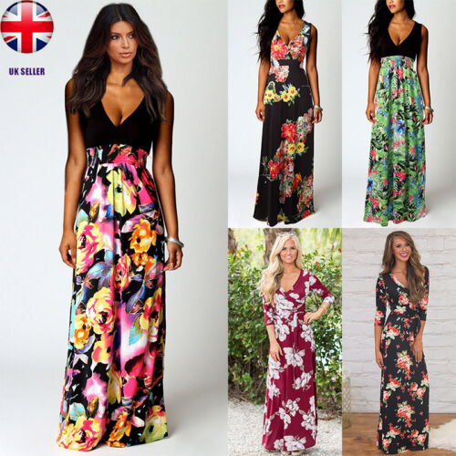 UK Ladies Boho Maxi Summer Beach Long Skirt Cocktail Party Floral Dress SZ 8-20