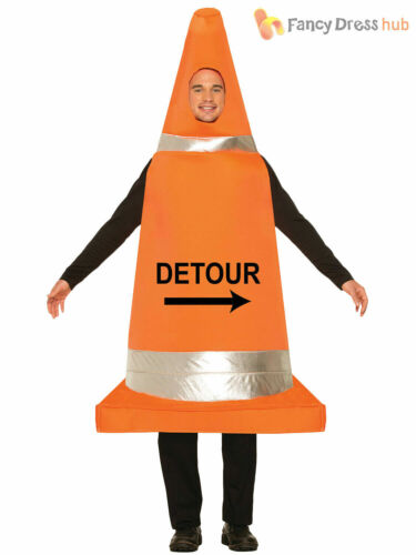 Adults Road Traffic Cone Funny Fancy Dress Costume Stag Night Mens Ladies Outfit