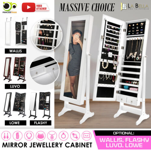 Mirror Jewellery Cabinet Storage Organiser Box Makeup Wooden Full Length <br/> 20% off with code PINEAPPLE. Ends 26/12. T&amp;Cs apply.