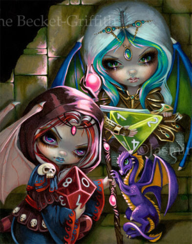 Jasmine Becket-Griffith art BIG print SIGNED Dice Dragonlings gaming fairies