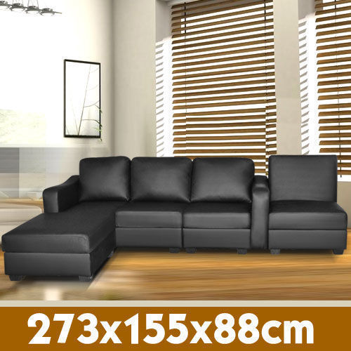 Corner Sofa Lounge Couch  Modular Furniture Home PU Leather Chaise Black <br/> 8 years  sale experience,over 9000 happy customers